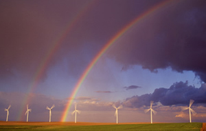 rainbow in wind farm